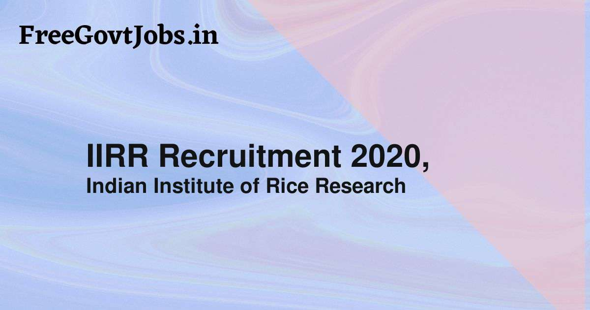 IIRR Recruitment 2020,