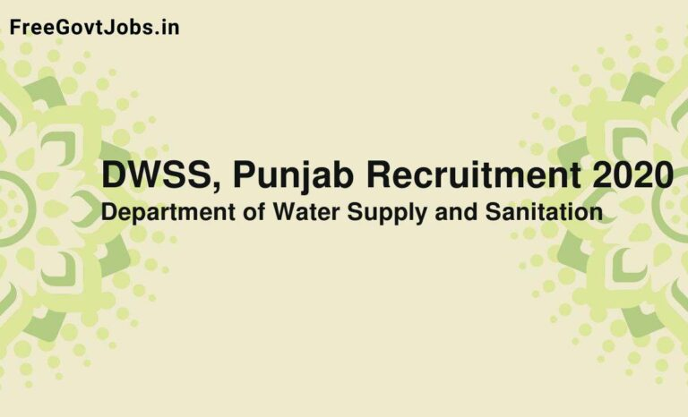 DWSS, Punjab Recruitment 2020