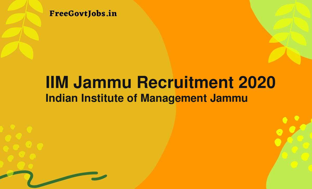 iim jammu recruitment 2020