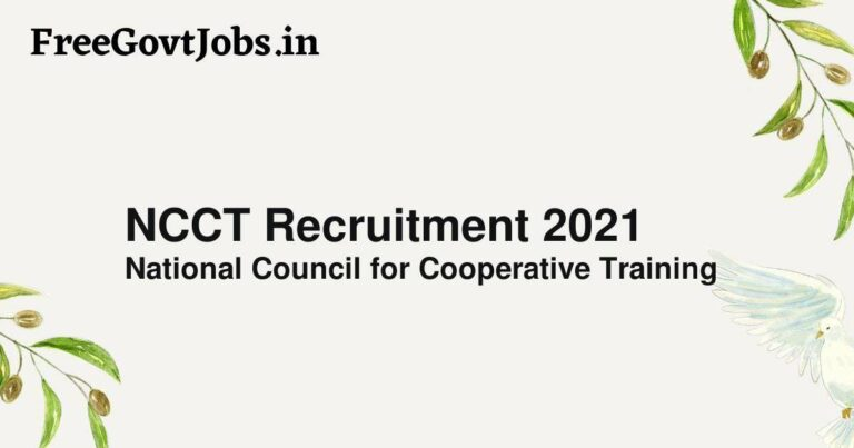 NCCT Recruitment 2021