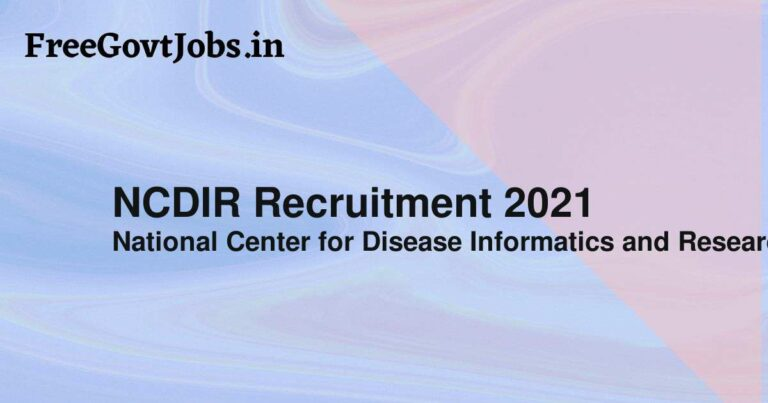 NCDIR Recruitment 2021