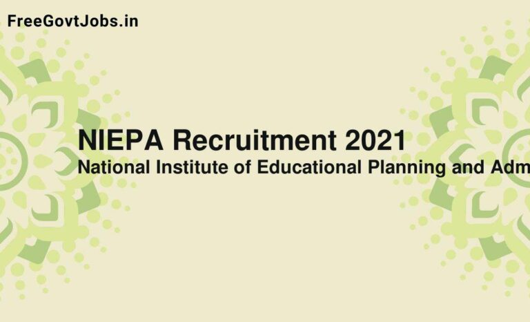 NIEPA Recruitment 2021