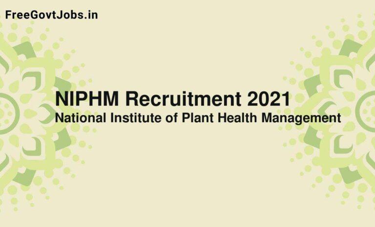 NIPHM Recruitment 2021