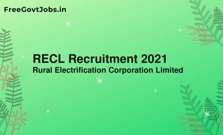 RECL Recruitment 2021