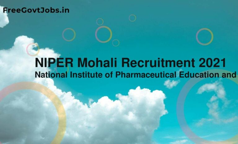 NIPER Mohali Recruitment 2021