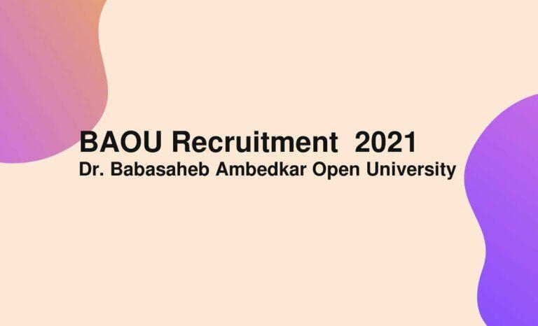 BAOU Recruitment  2021