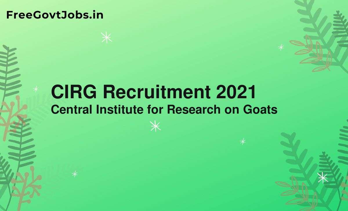 cirg recruitment 2021