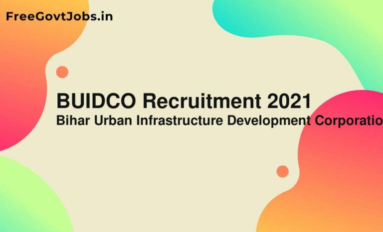 BUIDCO Recruitment 2021