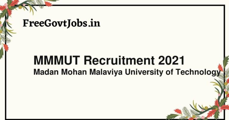 MMMUT Recruitment 2021
