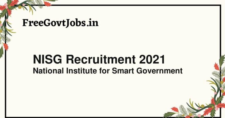 NISG Recruitment 2021