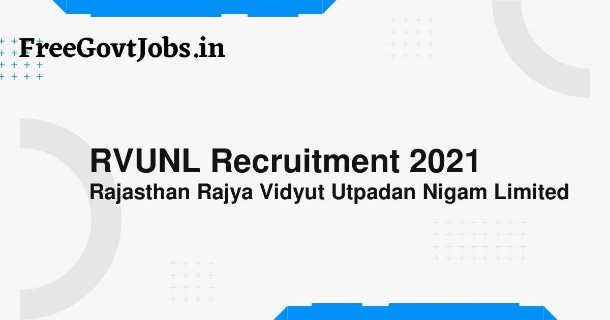 rvunl recruitment 2021