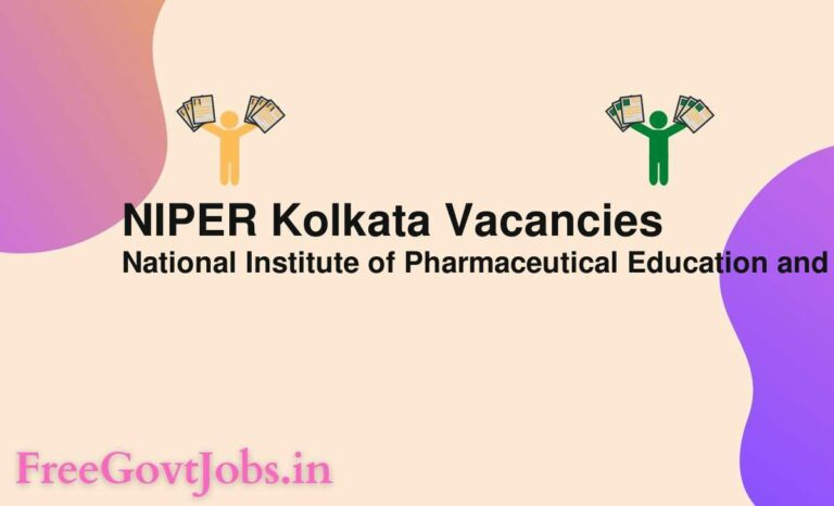 NIPER Kolkata Vacancies