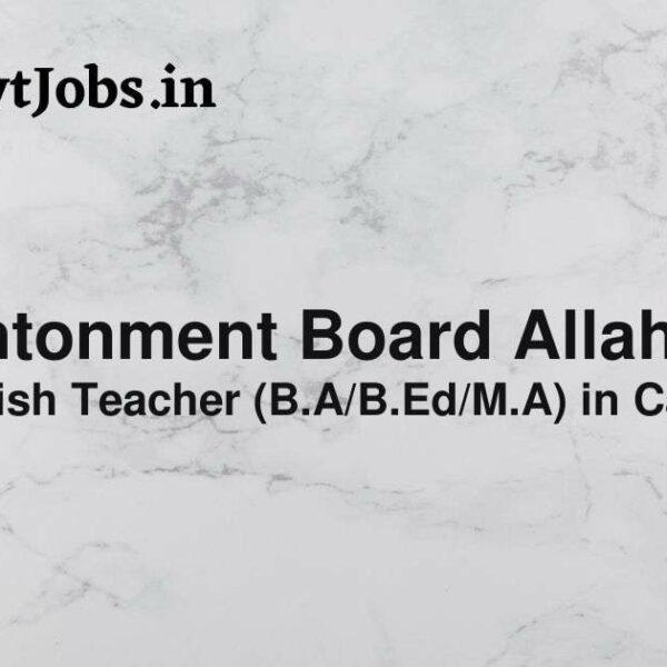 cantonment board allahabad recruitment 2021