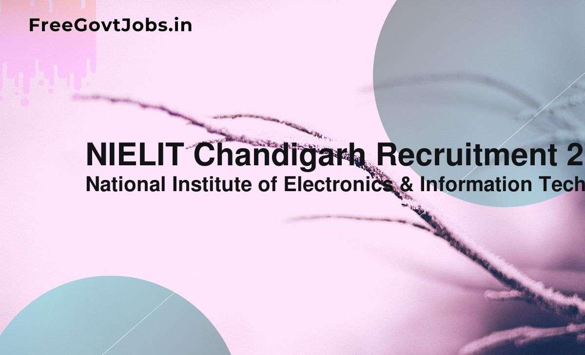 nielit chandigarh recruitment 2021