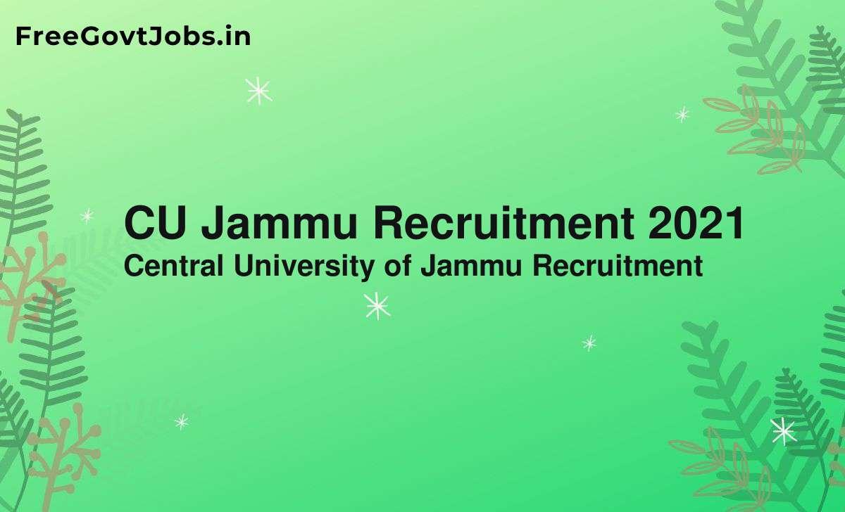 cu jammu recruitment 2021