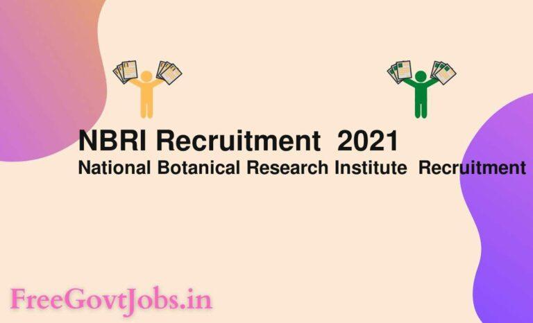 NBRI Recruitment  2021